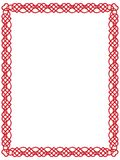 Red heart border with celtic ornament  Royalty Free Stock Photo