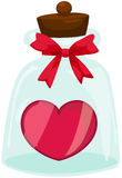 Red heart in bottle Stock Images