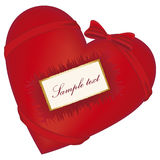 Red heart with bow. And greeting card with copy space Stock Photo