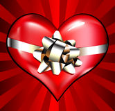 Red Heart with Bow Royalty Free Stock Photos