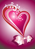 Red heart with a bow. Postcard. Background. Royalty Free Stock Image