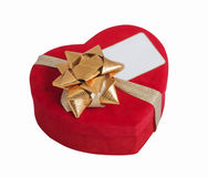 Red heart, bow and visit card Stock Photo