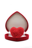 Red Heart in Box. Red Heart in Red Velvet Luxury Gift Box on White Background using as Love Valentine Concept Royalty Free Stock Photography