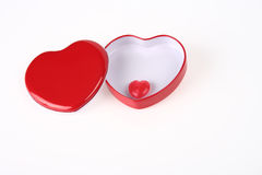 Red Heart box with candy inside Royalty Free Stock Image