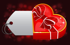 Red heart box with card Stock Photography