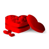 Red heart box with hearts Stock Photography