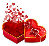 Red heart box with hearts. Vector illustration Stock Image