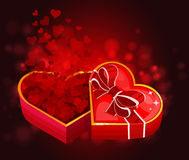 Red heart box with hearts. Vector illustration Stock Photography