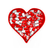 Red Heart Box with Medical Pills. 3d Rendering royalty free illustration