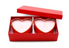 Red heart box package on white background. Candle stock illustration