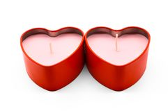 Red heart box package on white background. Candle royalty free stock image
