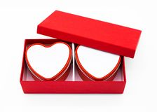 Red heart box package on white background. Box stock photo