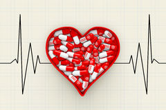 Red Heart Box with Pills on a Cardiogram Background. 3d Renderin Royalty Free Stock Photography