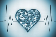 Red Heart Box with Pills on a Cardiogram Background. 3d Renderin Stock Images