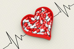 Red Heart Box with Pills on a Cardiogram Background. 3d Renderin Royalty Free Stock Image