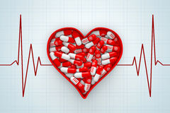 Red Heart Box with Pills on a Cardiogram Background. 3d Renderin Stock Photos