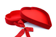 Red heart box and ribbon Stock Photos