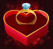 Red heart box with ring Royalty Free Stock Photos