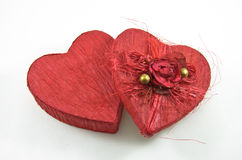 Red heart box with rose Stock Image