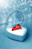 Red heart in box Stock Photo