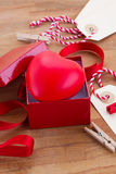 Red heart in box for valentines day Stock Photography