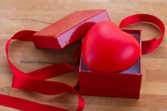 Red heart in box for valentines day Stock Images
