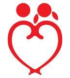 Red heart boy and girl  symbol Stock Image