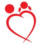 Red heart boy and girl symbol Stock Photo