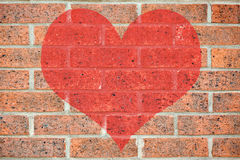 Red heart on brick wall Royalty Free Stock Photos