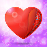 Red heart in the bright lovely air, with sun beams Royalty Free Stock Images