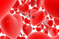 Red heart broken by arrow Royalty Free Stock Image