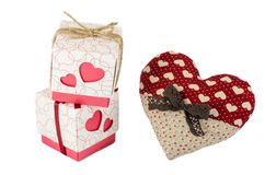 Red heart with brown bow near two boxes with gifts, Valentines day concept Stock Images