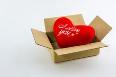 Red heart in brown box. Royalty Free Stock Photos