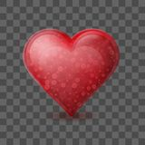 Red heart with bubbles inside isolated on transparent background. Glossy crystal glass heart. Romantic symbol of love. February 14 Valentines day greating card Royalty Free Stock Image