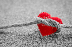 Red heart with a bundle rope. Stock Image