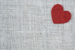 Red Heart on Burlap Background Royalty Free Stock Photo