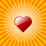 Red heart on burst Stock Images