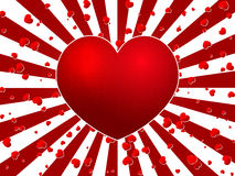 Red heart burst. Lovely background vector stock illustration