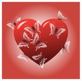 Red heart with butterflies Royalty Free Stock Images