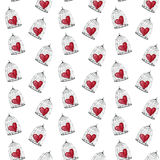 Red heart in a cage for birds, Watercolor pattern to the day of lovers Stock Photography