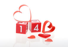 Red heart on calendar Stock Image