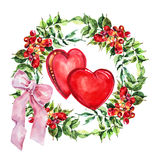 Red  heart, Campsis flowers wreath , bow watercolor Royalty Free Stock Image
