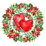 Red  heart, Campsis flowers wreath , bow watercolor Stock Images