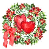 Red  heart, Campsis flowers wreath , bow watercolor Stock Photos