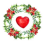 Red  heart, Campsis flowers wreath ,  watercolor Royalty Free Stock Images
