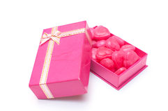 Red heart candies in box for Valentine day Stock Photo