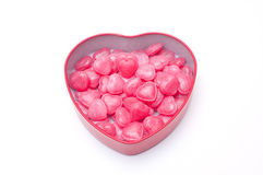 Red heart candies in heart shape box for Valentine day Stock Images