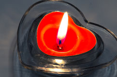 Red heart candle decoration Royalty Free Stock Photography