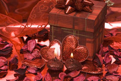 Red heart candles Stock Image
