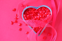 Red heart candy with ribbons and copy space Royalty Free Stock Photo